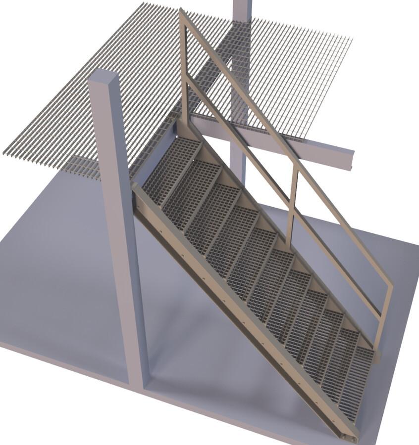 Pramoniniai laiptai. Pakopos iš cinkuotų gamyklinių pakopų.