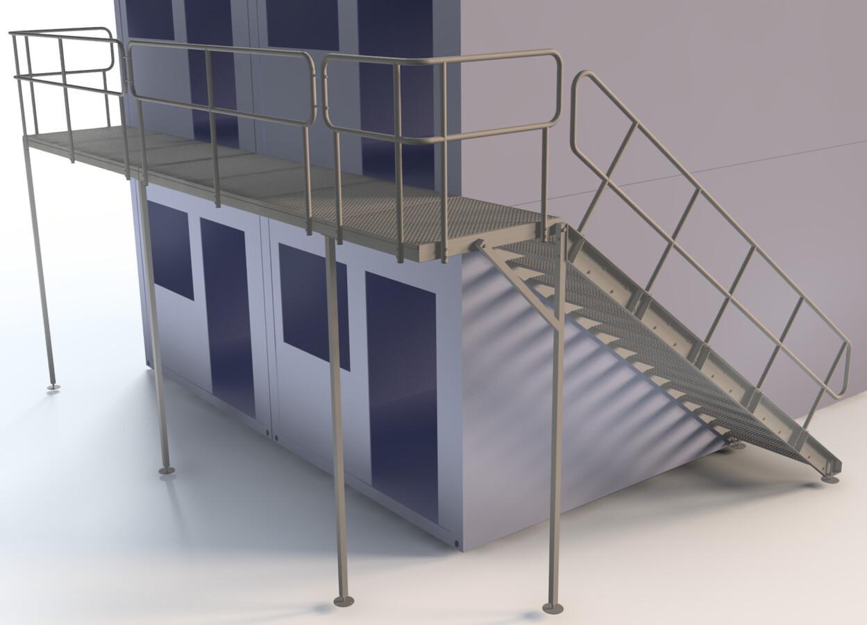 Metaliniai laiptai ir aikštelė prie statybinių vagonėlių.