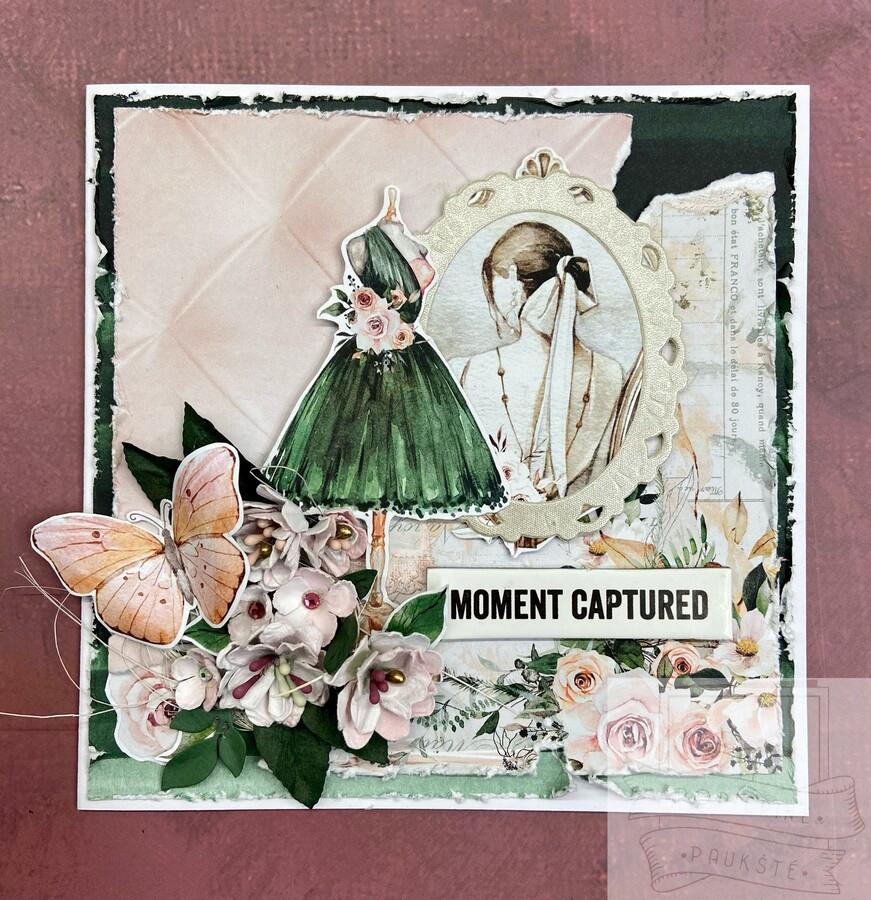Pavyzdys. sveikinimo atvirukas su rankų darbo popierinėmis gėlėmis.