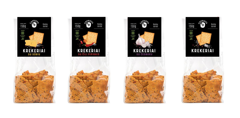 Krekerių etiketės koncepcija, maketas, iliustracijos. Liniją sudaro 4vnt. įvairių skonių krekeriai.