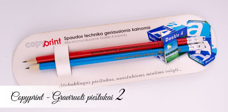 Reklaminiai graviruoti pieštukai su logotipu ir šūkiu. Puiki idėja naujo produkto ar paslaugos pristatymui - pieštukų rinkinys su firmine pakuote, kuri naudojama informacijos pateikimui.