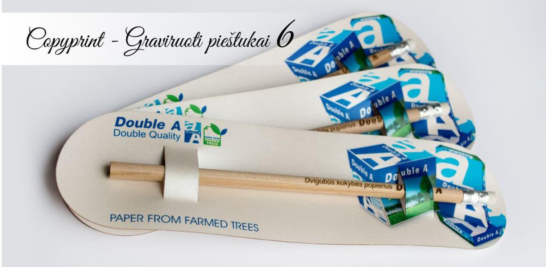 Firminiai reklaminiai DoubleA pieštukai su pakuote. Reklaminis suvenyras, kuris naudojamas kaip vizitinė kortelė, skrajutė, maža dovana klientui, naujo produkto ar paslaugos pristatymas.