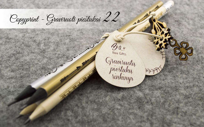 Vardiniai pieštukai. Pieštukai su vardais ir ornamentais. Graviruoti pieštukai.