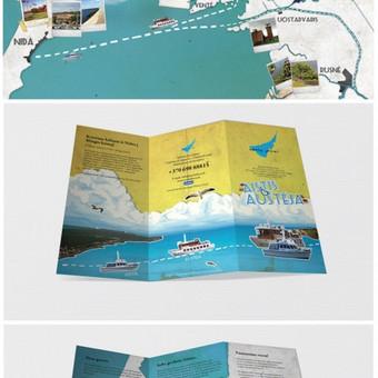 """""""Marių laivai"""" lankstukas ir plakatas. Skrajučių, reklaminių bukletų, brošiūrų ir lenkstinukų dizainas ir maketavimas / Nuo 99 eur už projektą / Dizaino studija - www.baltaideja.lt"""