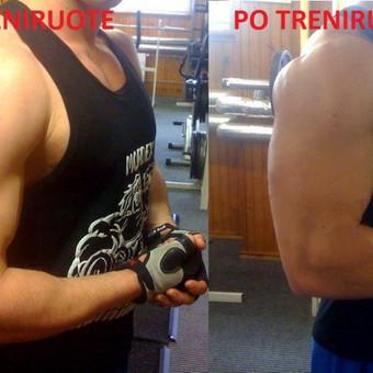 Vienos rankų raumenų treniruotes efektas.