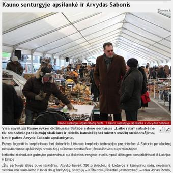 """Portale Žmonės.lt publikuotas mano parengtas pranešimas spaudai apie tai, kad senturgyje """"Laiko ratu"""" apsilankė Arvydas Sabonis. Pranešimą publikavo daugelis didžiųjų Lietuvos žiniasklaidos priemonių."""