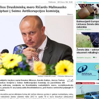 Portale 15min.lt publikuotas mano parengtas pranešimas spaudai apie tai, kad keturi Druskininkų savivaldybės nariai kreipėsi į Antikorupcijos komisiją dėl Druskininkų mero veiksmų. Pranešim ...