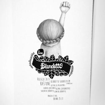 Plakatas grupės Blundetto koncertui. Galiu sukurti plakatą renginiui, reklaminį plakatą ar renginių programos plakatą / Kaina nuo 99 eur už projektą / Grafikos dizaineris - www.baltaideja.lt