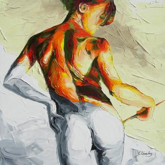 """Aliejinė tapyba ant drobės. Paveikslas """"Spalvota Ji"""" 60x60cm (PARDUOTAS)."""