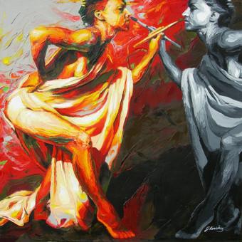 """Aliejinė tapyba ant drobės. Paveikslas """"Mūzos"""" 90x90cm (PARDUOTAS)"""