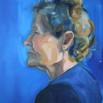 Portretas iš natūros, aliejiniai dažai.
