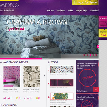 Sienų tapetų el. parduotuvė www.homedeco.lt