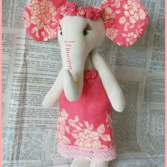 Lininė dramblytė 27 cm. Puiki dovana krikštynoms ar mažai mergytei.