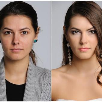 Prieš ir po profesionalaus makiažo - palyginamoji foto.  Makiažo/šukuosenos autorė Irina Binkevičienė  Fotografas Vytautas Budrevičius