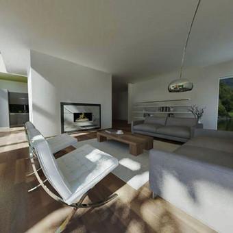 Atliktas gyvenamojo namo interjero projektas, išspręsta pirmojo aukšto erdvė, išskirstytos funkcinės zonos.