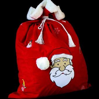 Kalėdinių dovanų maišas su pamušalu, tinkantis ir Kalėdų seneliui, ir statyti namie po egle.