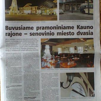 """Dienraščio """"Lietuvos rytas"""" priede kauniečiams """"Laikinoji Sostinė"""" publikuotas mano parengtas reklaminis straipsnis apie prekybos miestelio """"Urmas"""" plėtrą."""