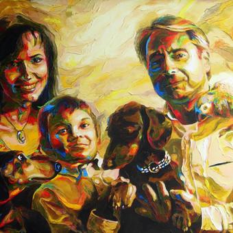 """Aliejinė tapyba ant drobės. Paveikslas """"Šeima"""" 100x70cm. Užsakomasis darbas tapytas iš nuotraukų."""