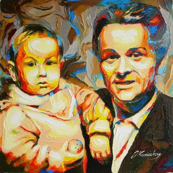 """Aliejinė tapyba ant drobės. Paveikslas """"Tėtis ir Sūnus"""" 29x29cm. Užsakomasis darbas tapytas iš nuotraukos."""
