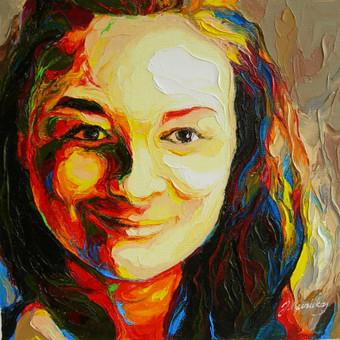 """Aliejinė tapyba ant drobės. Paveikslas """"Mergaites portretas"""" 29x29cm. Užsakomasis darbas tapytas iš nuotraukos."""