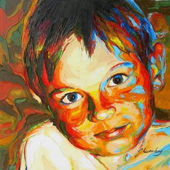 """Aliejinė tapyba ant drobės. Paveikslas """"Berniukas"""" 29x29cm. Užsakomasis darbas tapytas iš nuotraukos."""
