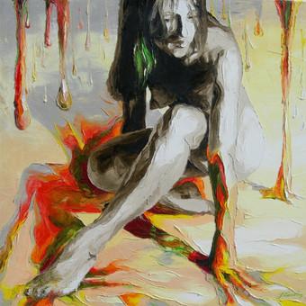 """Aliejinė tapyba ant drobės. Paveikslas """"Dažai"""" 60x60cm. (PARDUOTAS)"""