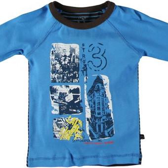 You Kids® marškinėliai FRILO berniukui  Privalumai: Švelnus trikotažas, priekaklyje nėra etikečių. Priekyje stilingas marginimas. Medžiagų gamyboje nenaudojami AZO dažai (kancerogeniniai, sukeliantys alergiją).  Medžiagos sudėtis: 100% medvilnė  Spalva: priekis ir rankovės - mėlyna, nugara - dryžuota (mėlyna/ruda)  Gamintojas: UTOFT KIDS GROUP. Danija.