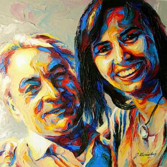 """Aliejinė tapyba ant drobės. Paveikslas """"Laimingi kartu"""" 29x29cm. Užsakomasis darbas tapytas iš nuotraukos."""