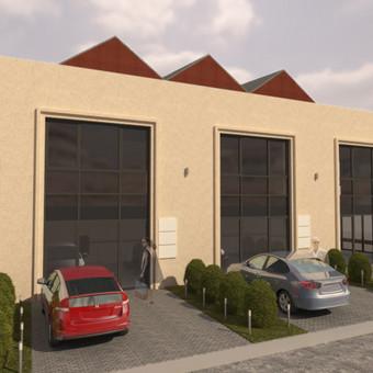 """3D vizualizacijos pavyzdys. Ofisų pastato išorės 3D vizualizacijos korektūra """"Karaliaus Mindaugo Apartamentų"""" projektui Kaune. Užsakovas - UAB """"Kpc Nekilnojamasis Turtas""""."""