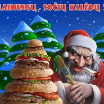 Keistas Kalėdinis sveikinimas. Atvirukas.