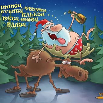 Linksmas Kalėdų atvirukas.