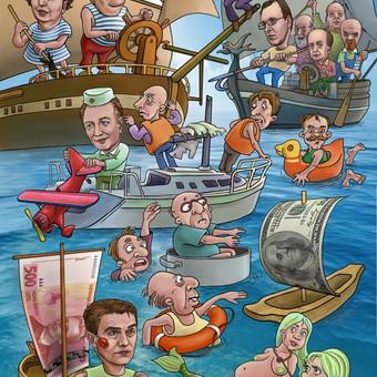 Užsakyta politinė karikatūra rinkimų metu.