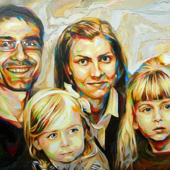 """Aliejinė tapyba ant drobės. Paveikslas """"Šeima002"""" 100x75cm. Užsakomasis darbas tapytas iš nuotraukų."""