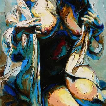 """Aliejinė tapyba ant drobės. Paveikslas """"Vidurnakčio Virpulys"""" 50x70cm. (PARDUOTAS)"""