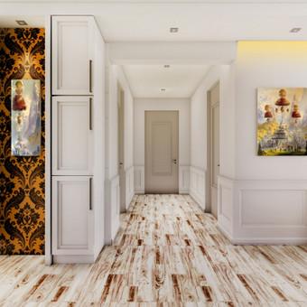 Namo interjero vizualizacija1. Virtuvė-svetainė, koridorius. Mano tapytų paveikslų pavyzdžiai