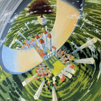 """""""Žiedo miestas"""" aliejiniai dažai ant drobės, paveikslo dydis 120x80cm.  (PARDUOTAS)"""
