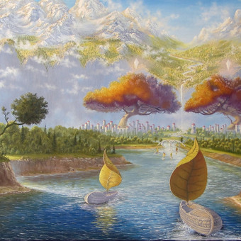 """""""Sugrįžimas"""" paveikslas tapytas ant drobės aliejiniais dažais. dydis 140x90cm (PARDUTAS)"""