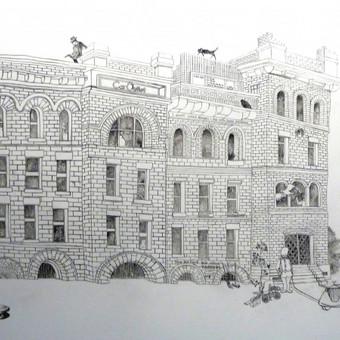 Senas namas. Piešinys ant sienos. Car Outlet http://www.caroutlet.lt/