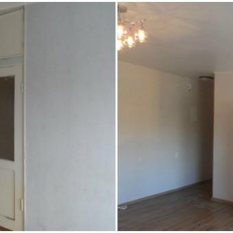 Išgriautos sienos, paruoštos sienos, lubos,sudėtas laminatas.Padidėjusi erdvė 3 kvadratais
