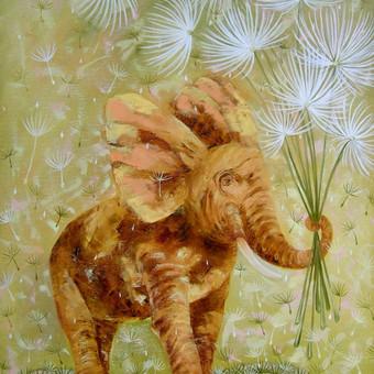 Laimės drambliukas 54x74, al.drobė