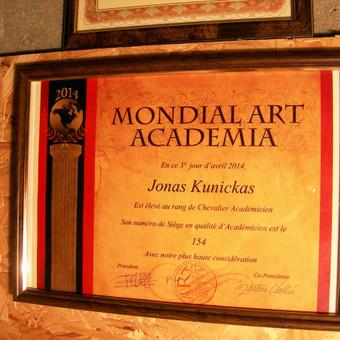 """Sertifikatas iš """"Mondial Art Academia"""""""