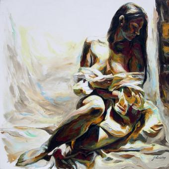 """Aliejinė tapyba ant drobės. Paveikslas """"Ramumo dvelksmas"""" 75x75cm. (PARDUOTAS)"""