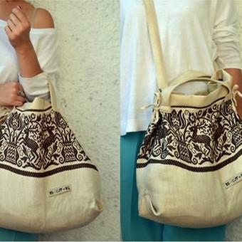 Talpi, tvirta ir lengva rankinė/pirkinių krepšys
