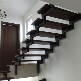 Vidaus laiptai medinėmis pakopomis su dviguba metalo konstrukcija