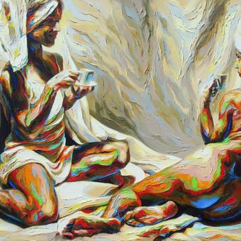 """Aliejinė tapyba ant drobės. Paveikslas """"Atokvėpis"""" 130x80cm (PARDUOTAS)"""