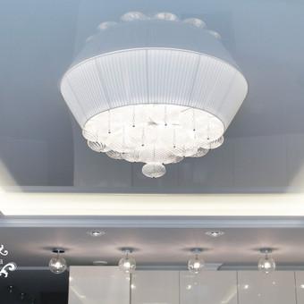 Svetainėje yra keturių rūšių apšvietimas. Kiekvienas iš jų valdomas atskirai. Virtuvės zona atkirta penkiais virštinkiniais šviestuvėliais. Jie pratesia koridoriaus  šviestuvų idėją.  ...