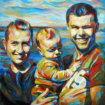 """Aliejinė tapyba ant drobės. Paveikslas """"Šeima 03"""" 50x60cm. Užsakomasis darbas tapytas iš nuotraukų."""