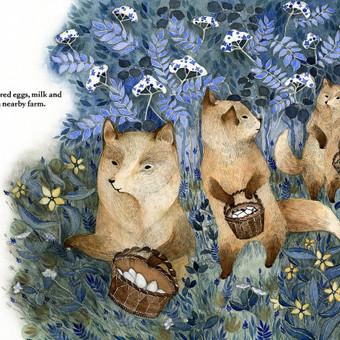 Vaikų knygelės baigta iliustracija.