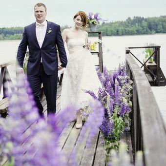 Vestuvių fotosesija - dekoruota suasmenintom dekoracijom