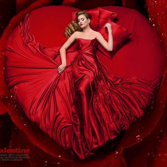 """""""Valentine"""" Šukuosena/makiažas: Ernestas Švilpauskas Modelis: Ernesta Elzbergaitė Nuotrauka/retušas: Rasa Kijakauskienė"""